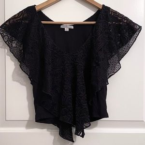 Black Sleeveless Top with Lace Ruffle Overlay